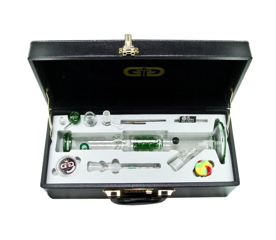 Clear Green Cane GG Bong with Luxury leather Case