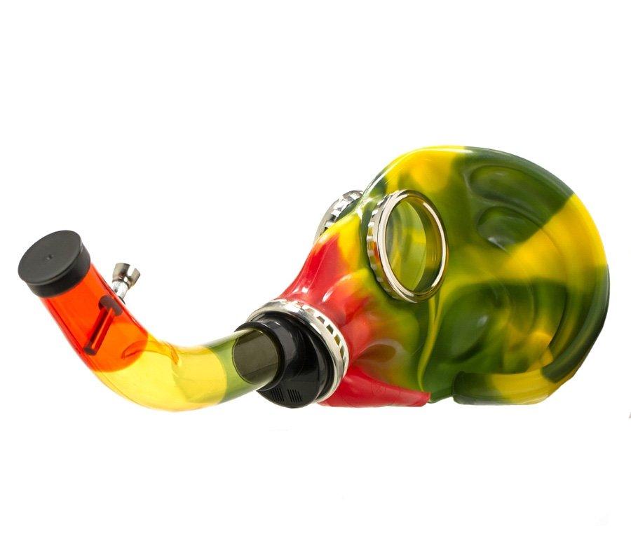 Gasmasker Bong Rasta Metal Hose - Waterpijp-bong.nl