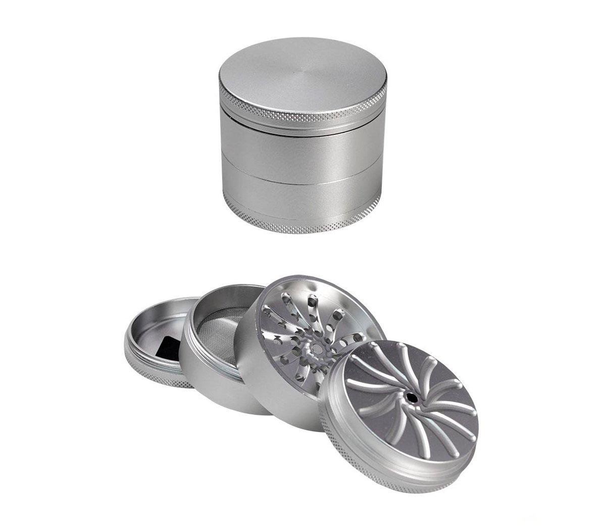 Masher Aluminium Grinder 4-part Silver 53mm - Waterpijp-bong.nl