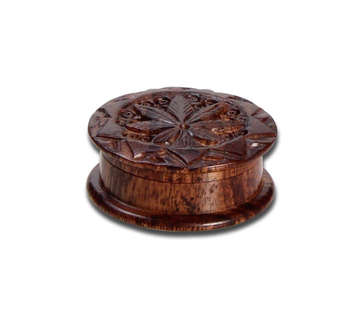 Rosewood Grinder Leaf 2-part carved - Waterpijp-bong.nl