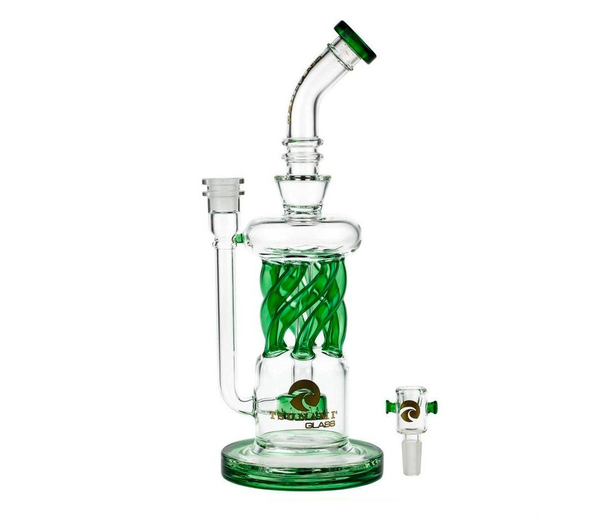 """Tsunami Glass Twisted Showerhead Recycler 12"""" Bong Green - Waterpijp-bong.nl"""