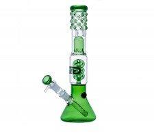 Green Pearl Spiral Percolator GG Beaker Bong