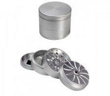Masher Aluminium Grinder 4-part Silver - Waterpijp-bong.nl