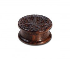 Rosewood Grinder Leaf 2-part carved 40mm - Waterpijp-bong.nl