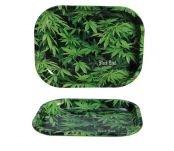 Black Leaf Rolling Tray 'Hemp'